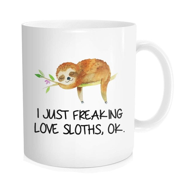 11 oz Ceramic White Sloth Mug