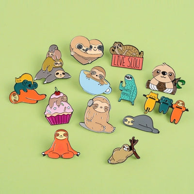15 Styles!! Cute Sloth Koala Enamel Lapel Pins