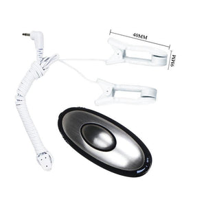 A pair of white electro shock nipple clamps with multi function remote