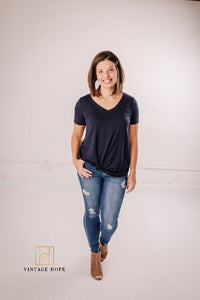 Pull On Distressed Skinny Jeans by Grace and Lace