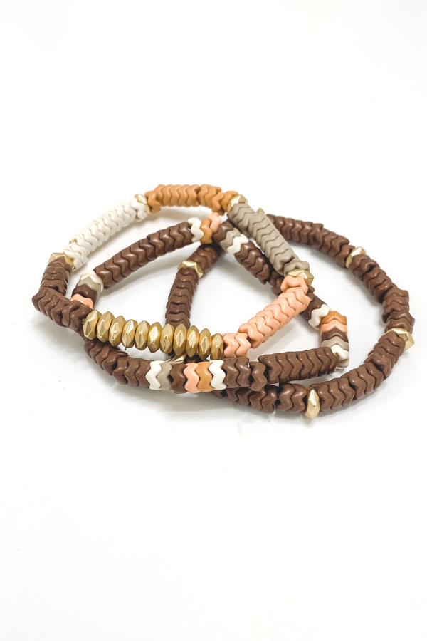 Brown Color Block Stretch Bracelet Stack - Vintage Hope Boutique