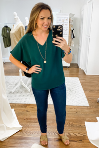 Hunter Green Crepe V-Neck Top - Vintage Hope Boutique