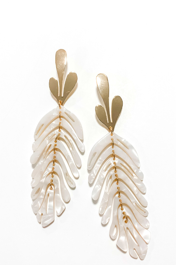 Bright Gold Pearl Leaf Earrings - Vintage Hope Boutique