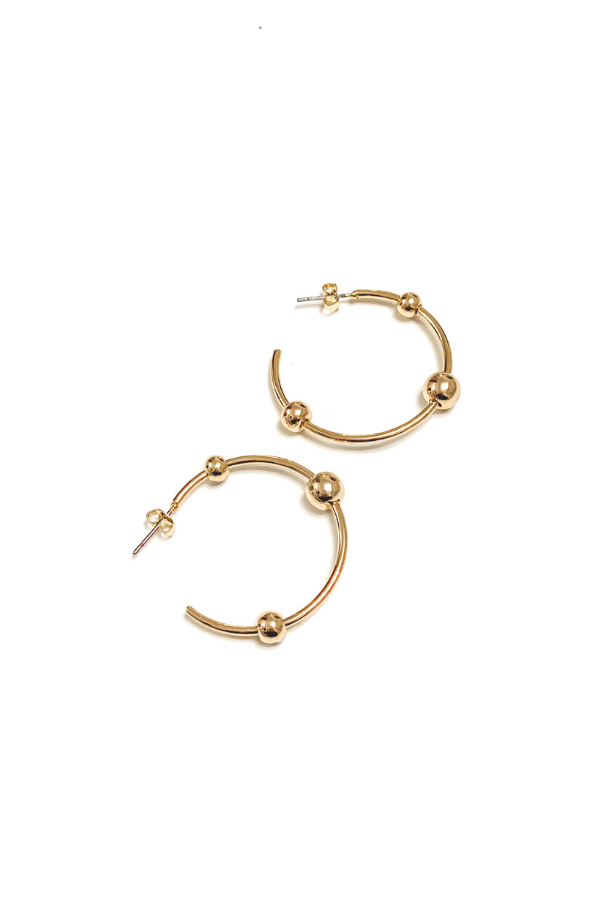 Ball Hoops Gold Earrings | BB Lila - Vintage Hope Boutique
