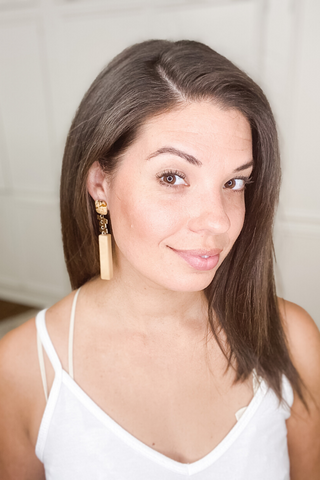 Natural + Gold Rectangle Earrings - Vintage Hope Boutique