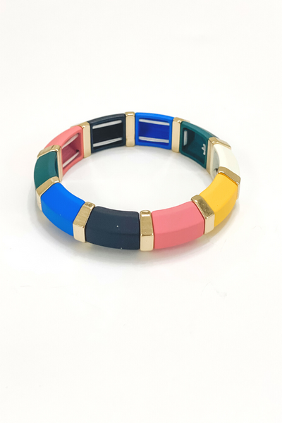 Colorblock + Gold Stretch Bangle - Vintage Hope Boutique