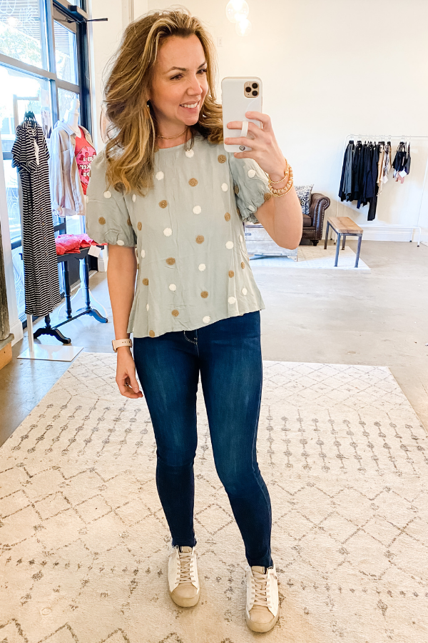 Mint Swiss Dot Top - Vintage Hope Boutique