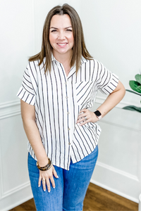 White with Black Stripes Button Up Pocket Top - Vintage Hope Boutique