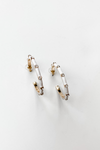 Gold Hoops White & Diamonds Earrings - Vintage Hope Boutique