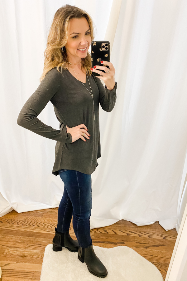 Charcoal Everyday Long Sleeve V Neck-RESTOCK - Vintage Hope Boutique