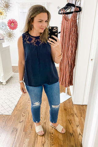 Geometric Lace Sleeveless Top Navy - Vintage Hope Boutique