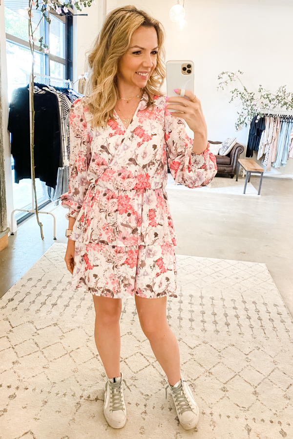 Fuchsia Floral Wrap Dress - Vintage Hope Boutique
