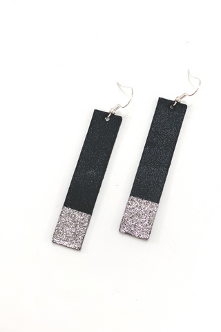 Black/Silver Bar Earrings | Addy's Way - Vintage Hope Boutique