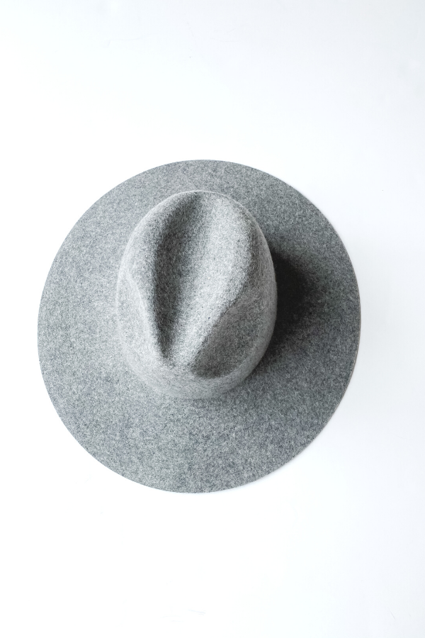 Gigi Pip Scottie Grey Wide Brim Fedora - Vintage Hope Boutique