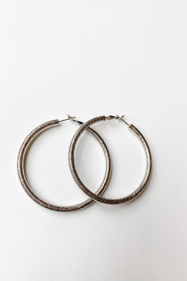 Silver Sparkle Large Hoop Earrings - Vintage Hope Boutique