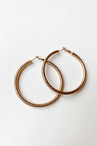 Gold Sparkle Large Hoop Earrings - Vintage Hope Boutique