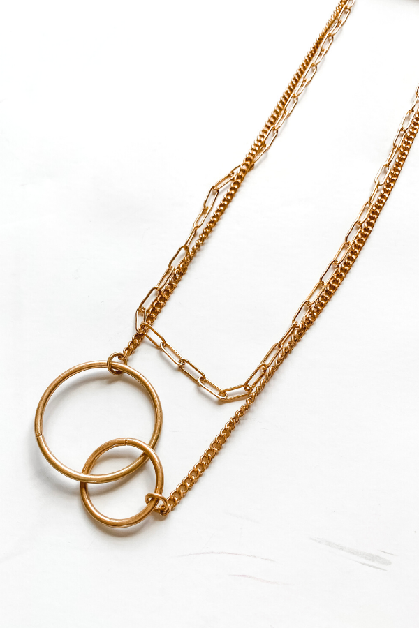 Gold Layered Circle Necklace - Vintage Hope Boutique