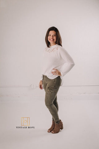 Olive Cargo Skinny Jeans by Grace and Lace