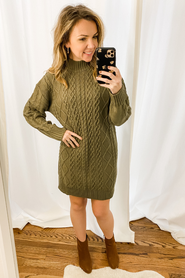 Olive Cable Knit Sweater Dress - Vintage Hope Boutique