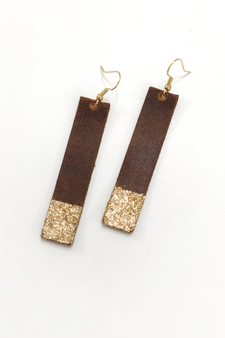 Cognac/Gold Bar Earrings | Addy's Way - Vintage Hope Boutique