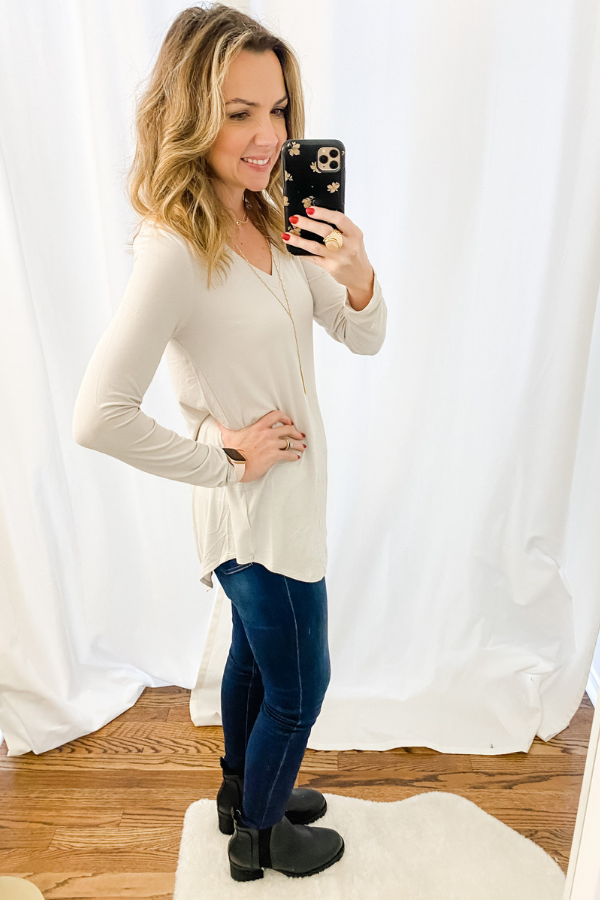 Bone Everyday Long Sleeve V neck-RESTOCK - Vintage Hope Boutique