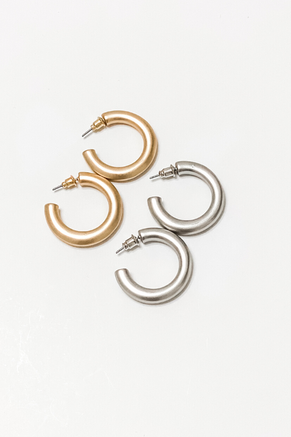 Thick Metallic Hoops in Silver - Vintage Hope Boutique