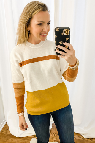 Taupe + Mustard Color Block Sweater - Vintage Hope Boutique