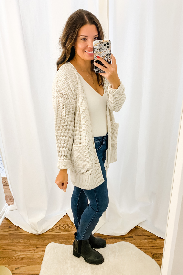Bone Waffle Cardigan - Vintage Hope Boutique