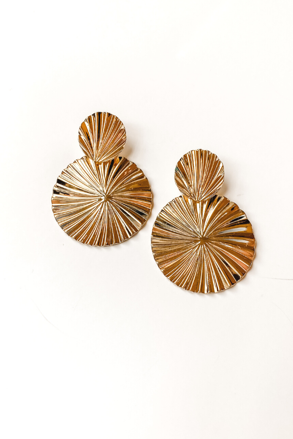Gold Fan Earrings - Vintage Hope Boutique