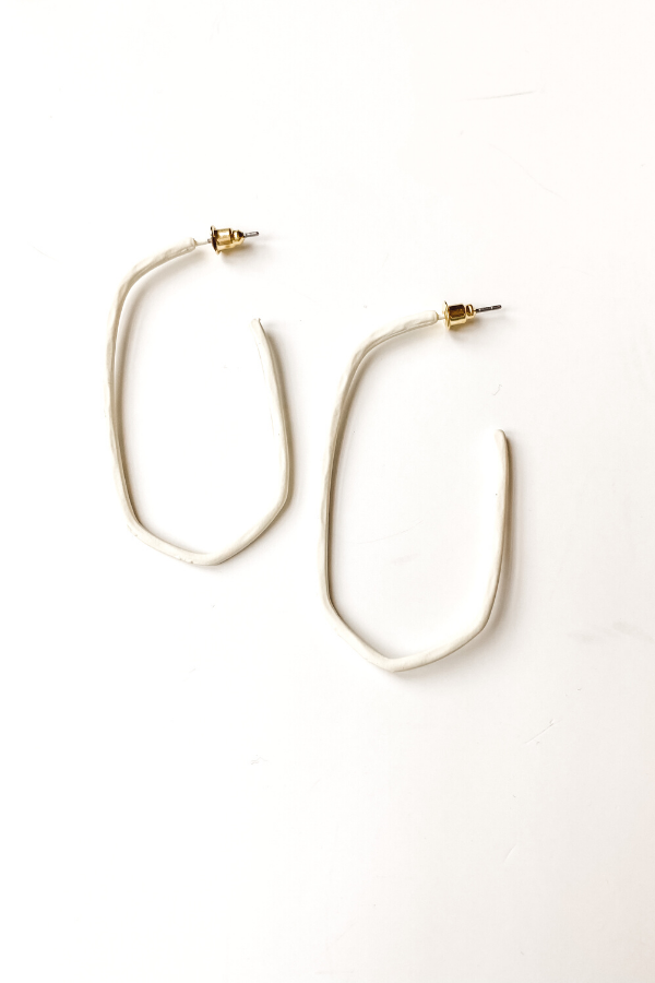 White Matte Hammered Hoops - Vintage Hope Boutique