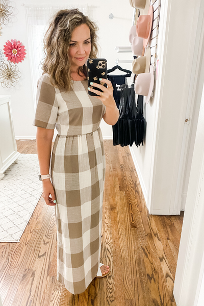 Taupe Buffalo Check Dress - Vintage Hope Boutique