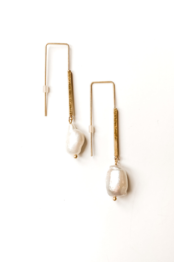 Gold Bar with Pearl Earrings - Vintage Hope Boutique
