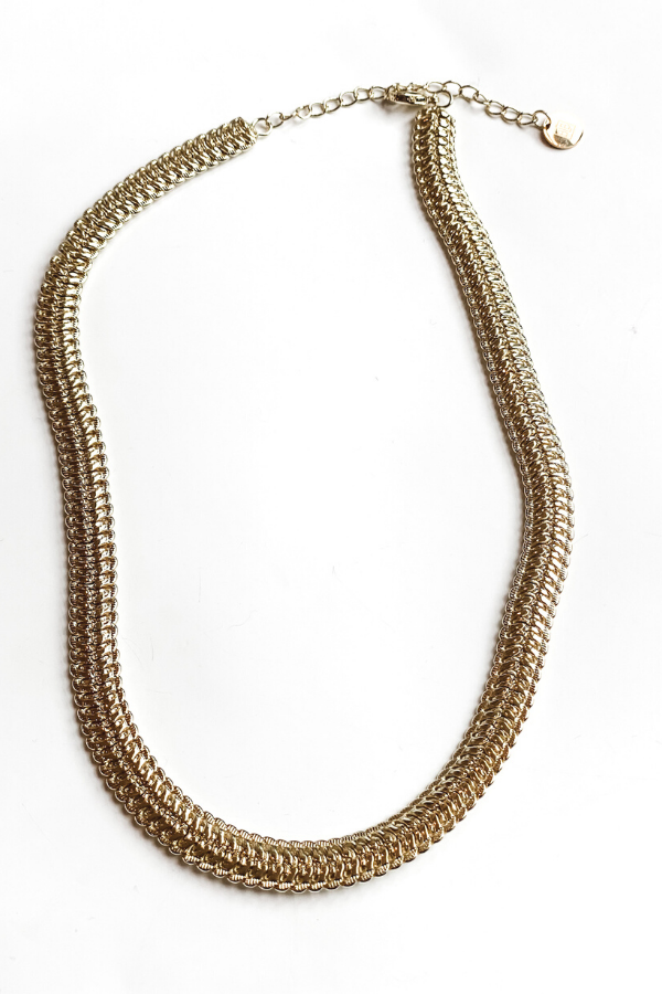 Golden Hour Large Snake Chain Necklace/BB Lila - Vintage Hope Boutique