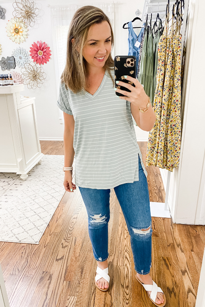 Sage Short Sleeve Stripe V-Neck - Vintage Hope Boutique