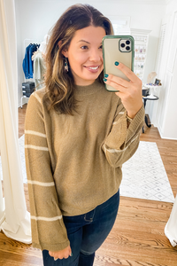 Mocha Stripe Sweater - Vintage Hope Boutique