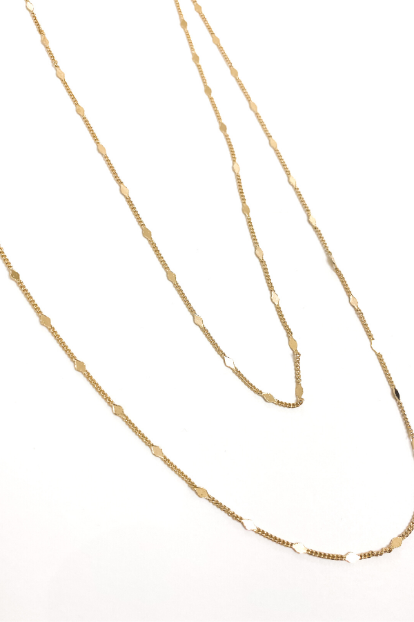 Dainty Gold Metallic Long Necklace - Vintage Hope Boutique