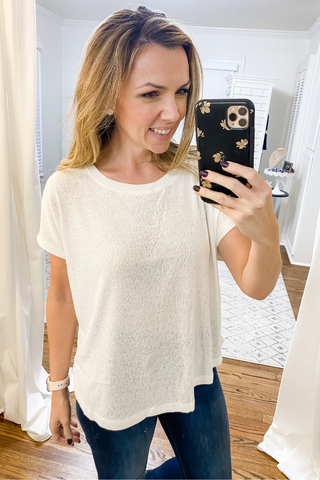 White Short Sleeve Dolman Knit Top - Vintage Hope Boutique