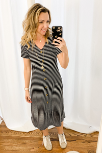Black + White Ribbed Button Dress - Vintage Hope Boutique