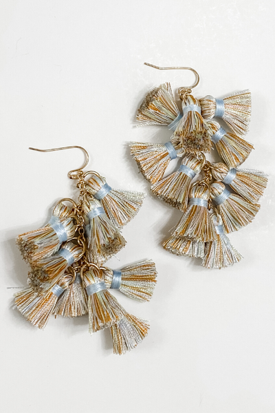 Multi Tassel Light Blue Mix Earrings - Vintage Hope Boutique