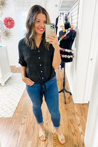 Black Button Down With Tie Top - Vintage Hope Boutique
