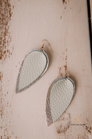 Vegan Leather Double Leaf Earrings
