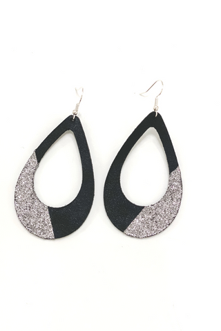 Black/Silver Open Teardrop Earrings | Addy's Way - Vintage Hope Boutique