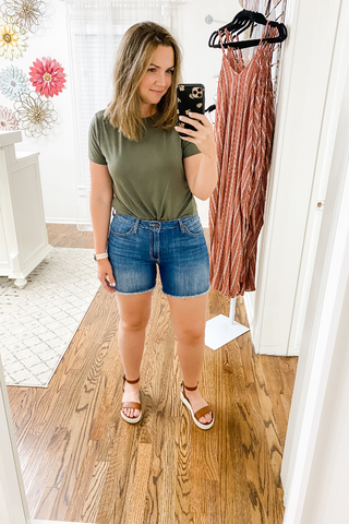Raw Hem Jean Shorts by Just Black Denim - Vintage Hope Boutique