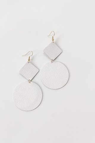White Pebble Grain Geo Ayla Leather Earrings by Addy's Way - Vintage Hope Boutique