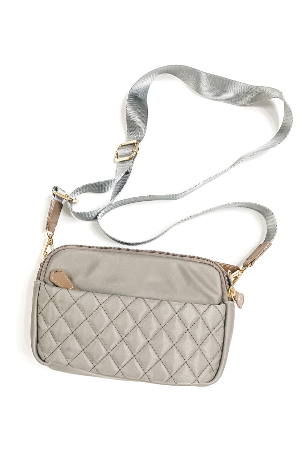 Grey Quilted Crossbody Purse - Vintage Hope Boutique