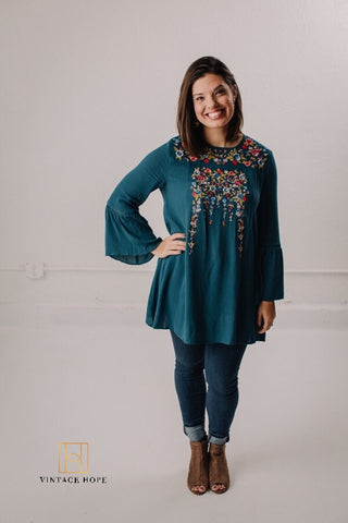 Teal Embroidered Tunic