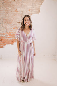 Striped Wrap Maxi Dress CURVY SIZES TOO!