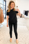 Black Crew Neck Top - Vintage Hope Boutique