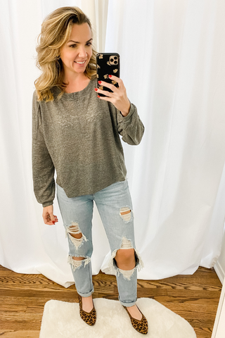 Charcoal Heathered Henley - Vintage Hope Boutique