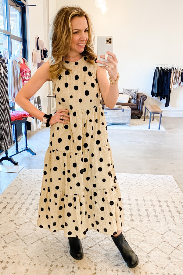 Tiered Dot Maxi - Vintage Hope Boutique